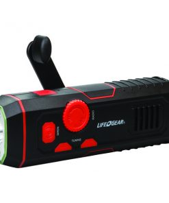 Life+Gear LG38-60675-RED 120-Lumen Stormproof USB Crank Flashlight & Radio