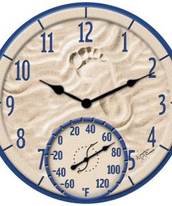 "Springfield(R) Precision 91501 14"" By the Sea Poly Resin Clock with Thermometer"
