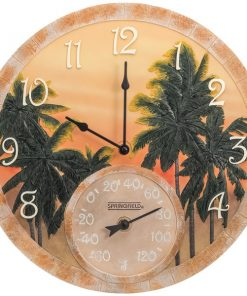 "Springfield(R) Precision 92669 14"" Poly Resin Clock with Thermometer (Coconut Bay)"